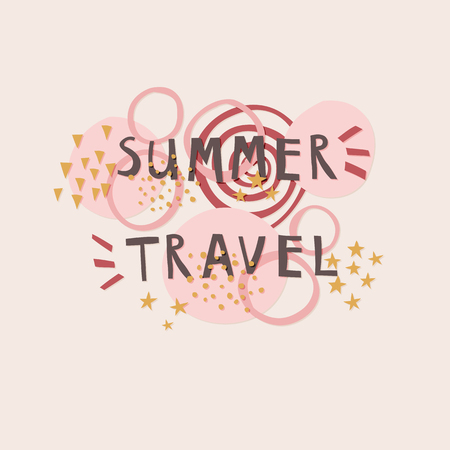 Summer Travel cut out paper lettering with decor elements