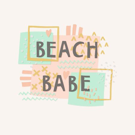 Beach Babe cut out paper lettering with decor elements Ilustração