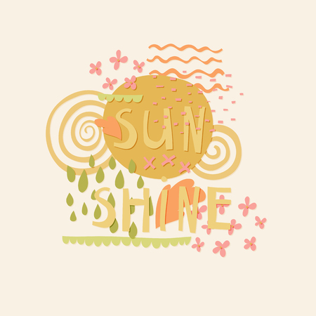 Sun Shine cut out paper lettering with decor elements