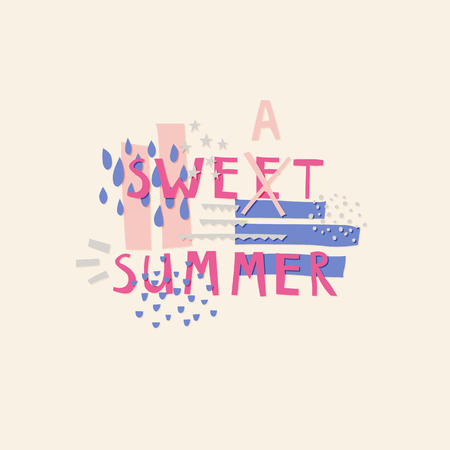 Sweet Summer cut out paper lettering with decor elements Ilustração
