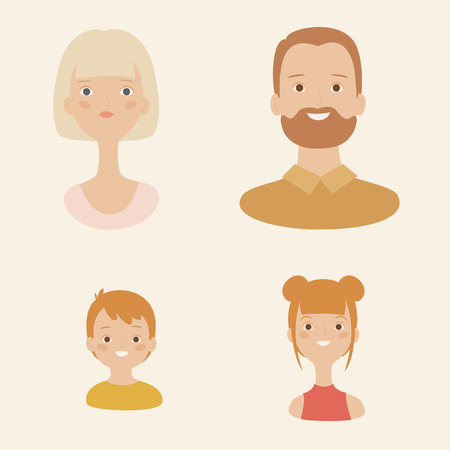 Family avatars or icons. Two parents and two children, boy and girl. Vector illustration Ilustração