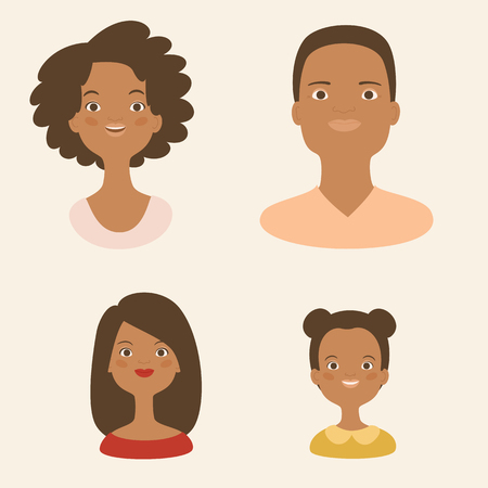 Family avatars or icons. Two parents and two children, two girls. Vector illustration