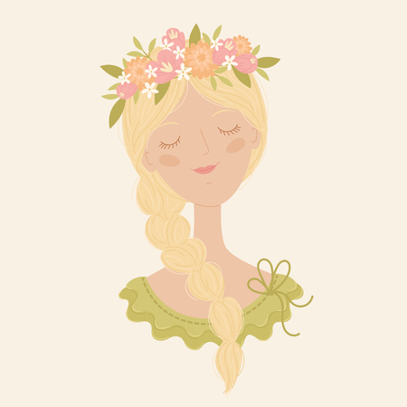 Young romantic white girl in a floral wreath. Vector illustration Ilustração
