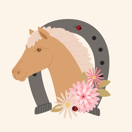 Brown horse portrait in a horseshoe with flowers Ilustração