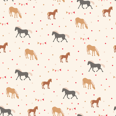 Seamless pattern with brown and black horses. Horse riding sport theme. Ilustração
