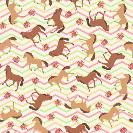 Seamless pattern with brown horses and flowers on chevron background.