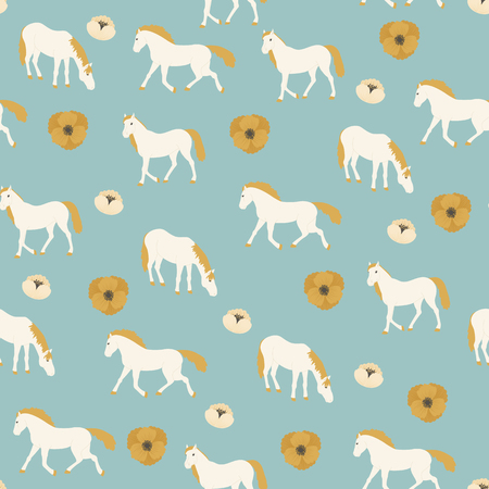 Seamless pattern with white horses and flowers on blue background. Ilustração