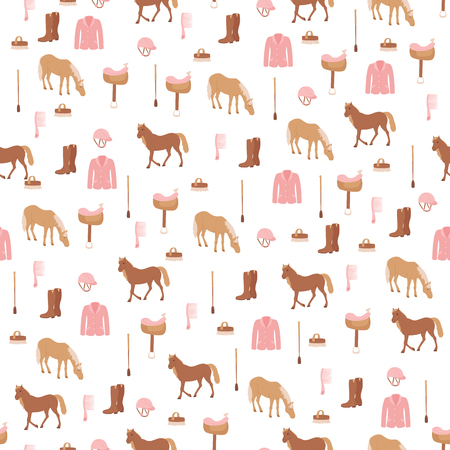 Seamless pattern with horses and horse riding sport equipment. Horse riding sport theme.