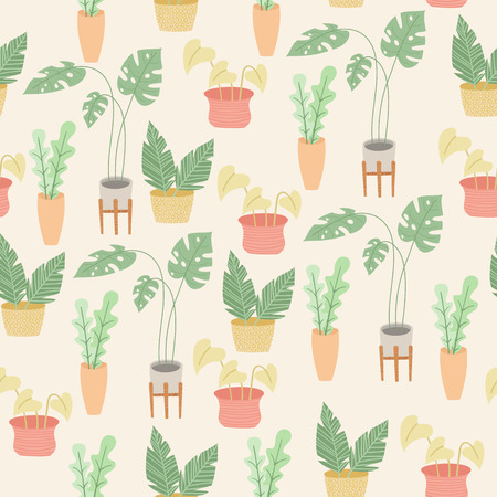 Indoor or house plants seamless vector pattern