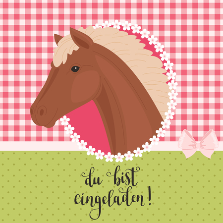 Invitation with a beautiful horse head in a frame and inscription in German Du bist eingeladen! (You are invited). Ilustração