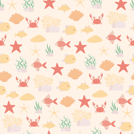 Sea or ocean life vector seamless pattern