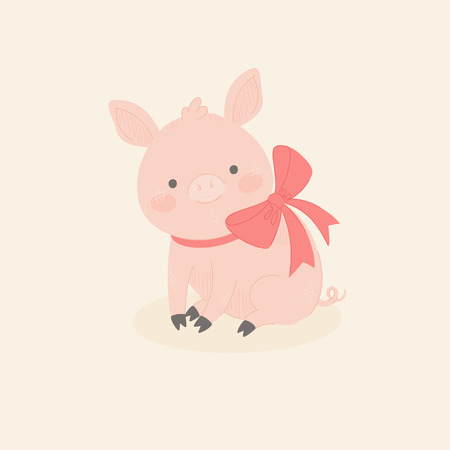 Cute little pig sitting alone with a red bow on its neck. Vector illustration Ilustração