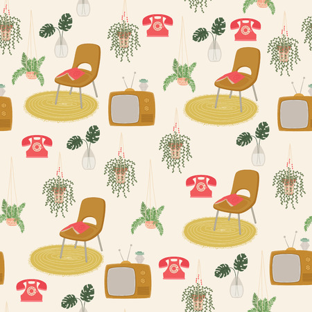 Scandinavian or retro interior seamless vector pattern