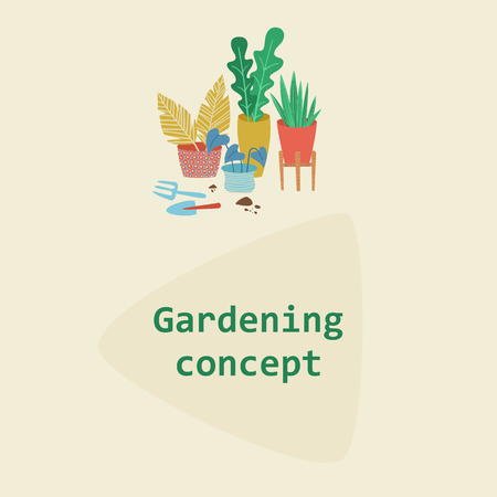 Urban jungle, replanting, gardening concept. Scandinavian ligestyle. House or indoor plants vector illustration.