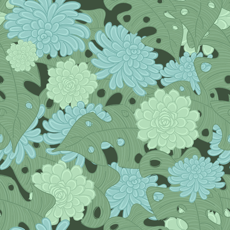 Succulents vector seamless pattern