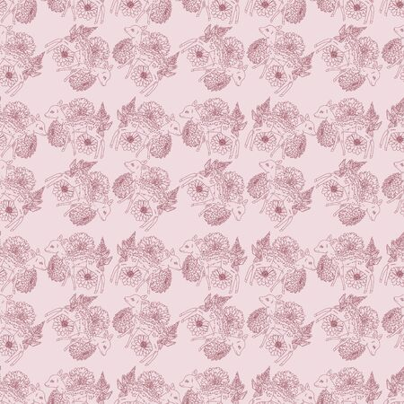 Deer with flowers seamless pattern Ilustrace