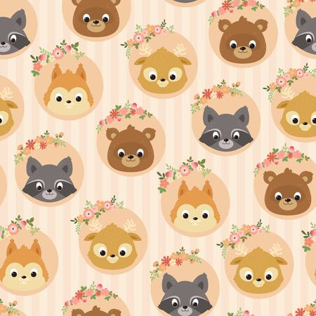 Forestwoodland animals seamless pattern. Childrens room wallpaper. Kids room wall art