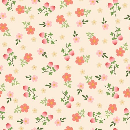 Cute floral seamless pattern. Pink and peach flowers on light background 向量圖像
