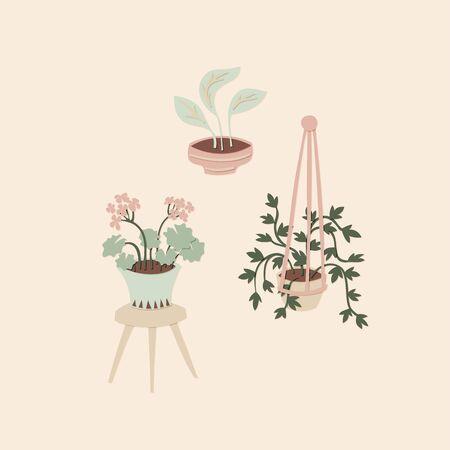 Cutout indoor plants. House plants paper cutouts. Vector illustration Vettoriali
