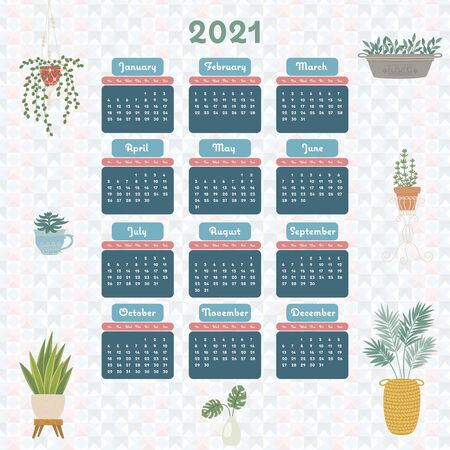 2021 year business or personal calendar. Yearly planner template. 2021 organizer surrounded by house/indoor plants. Vector art
