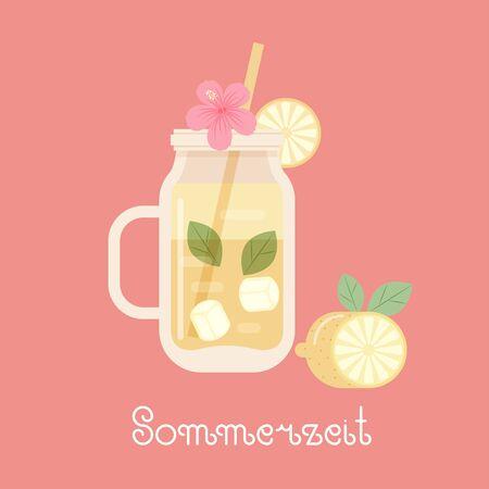 Lemon smoothie with lemon, lemon slice, straw, ice and tropical flower hibiscus. German lettering