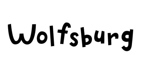 Wolfsburg, hand drawn vector lettering in German, it's German name of Wolfsburg. German hand drawn lettering. German city name and city spelling. Travel concept.
