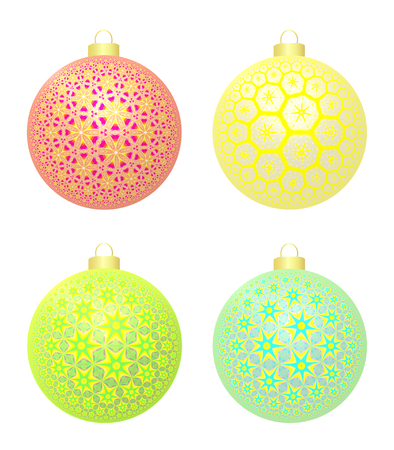 Christmas And New Year Balls  Exquisite set of four Christmas and New Year balls with beatiful star patterns, rose, yellow, green and blue, on white background  Stock Photo