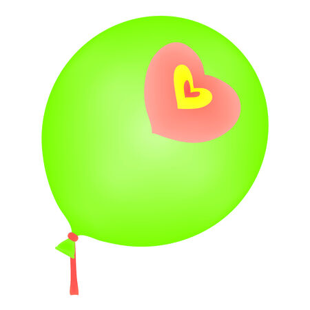 Green balloon with three hearts, one yellow and two pink  Vector