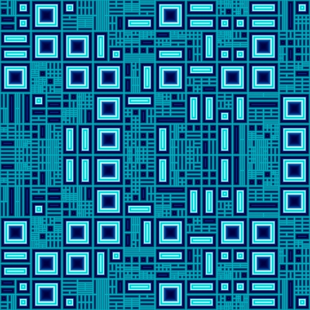 performed: Blue circuit abstract concept; Unusual abstract illustration of computer circuit concept with random shining squares and rectangles that symbolize electric chains, performed in blue colors