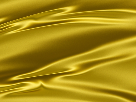 Beautiful golden yellow satin 3D texture abstract background with elegant folds and sparkles effect  photo