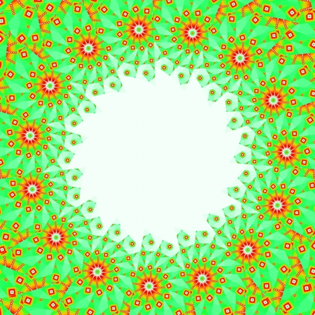 ethnical: Unusual frame in the ethnical style with geometric flowers and the round hole on the white background.