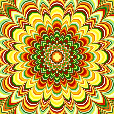 Vivid fractal floral mandala with multicolored stripes. photo