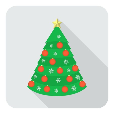 Decorated Christmas tree toy with red balls, snowflakes and golden star on the gray background in the flat style with long shadow, vector EPS8.