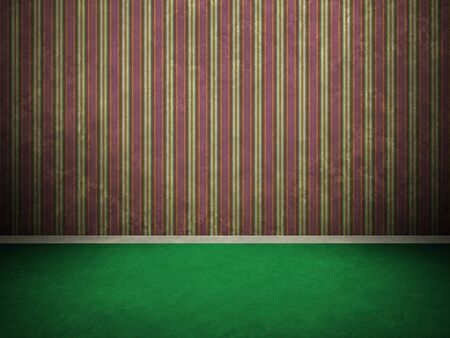 rundown: Digitally generated 3D grunge vintage empty interior with aged green floor, purple striped wall and skirting. Stock Photo