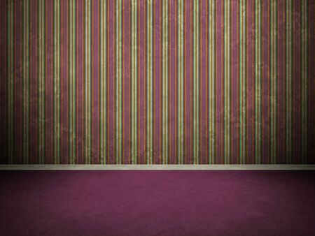 skirting: Digitally generated 3D grunge vintage empty interior with aged purple floor, striped wall and skirting. Stock Photo