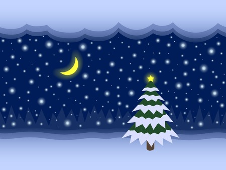 Christmas tree with the star in the snow, glowing moon, clouds, falling snowflakes and the forest in the distance at the night, seamless background Vector
