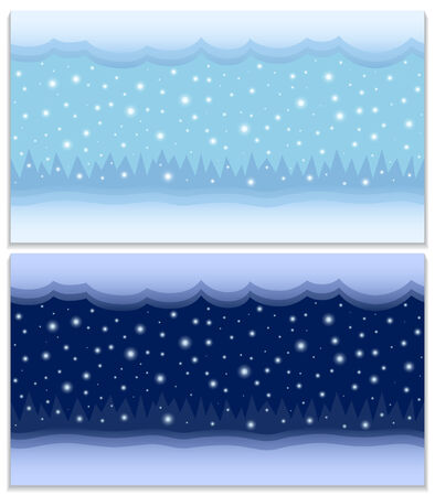 Winter day and night two vector seamless backgrounds; cartoon winter landscape with the snow, clouds, falling snowflakes and forest in the distance at the day and night, vector EPS 8 Vector