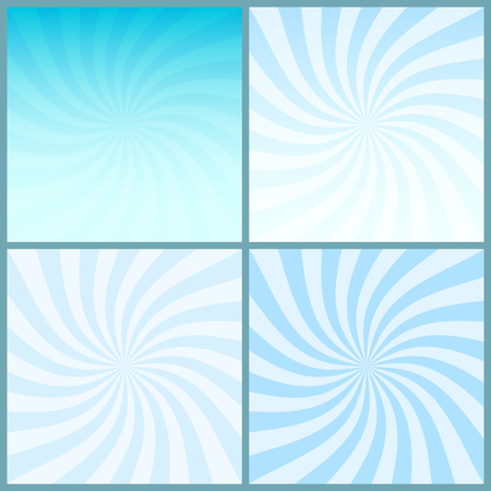 Blue swirl striped centered retro backgrounds set; four vintage abstract backgrounds with blue rotating rays, vector EPS 8 Illustration