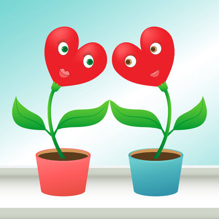 windowsill: Two heart shaped pot flowers on a windowsill looking to each other with love Illustration