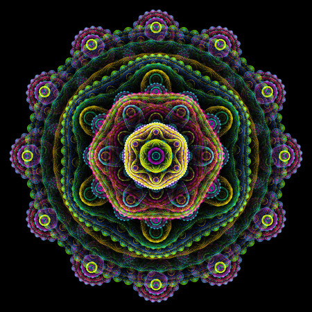 multilayer: Round 3D mandala on black background; abstract multilayer round fractal Stock Photo