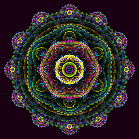 multilayer: Round 3D mandala on purple background; abstract multilayer round fractal