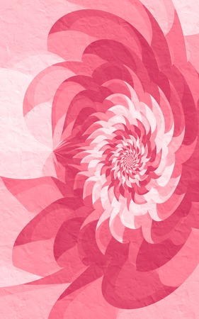 uncommon: Pink geometric flower; unusual fractal flower in magenta tones on a crumpled paper texture