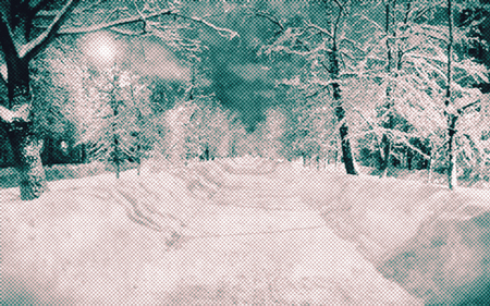 full moon effect: Beautiful winter night Russian street landscape with snow, trees and full moon. Digitally altered photo with the halftone effect.
