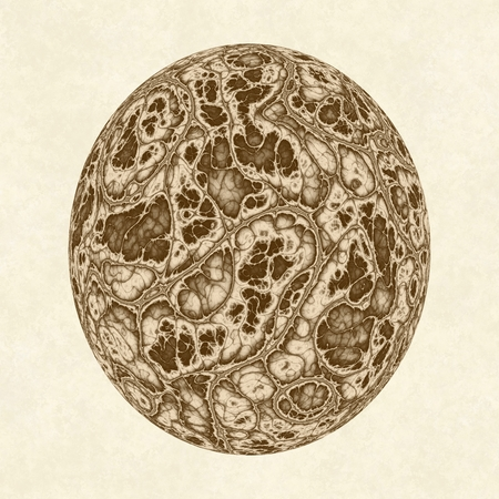 crooked: Digitally generated dino egg with the convoluted surface texture on light beige textured background. Stock Photo