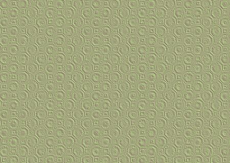 Naturally looking digitally generated 3D texture of the pastel green purple paper with octagons, squares and circles embossing.