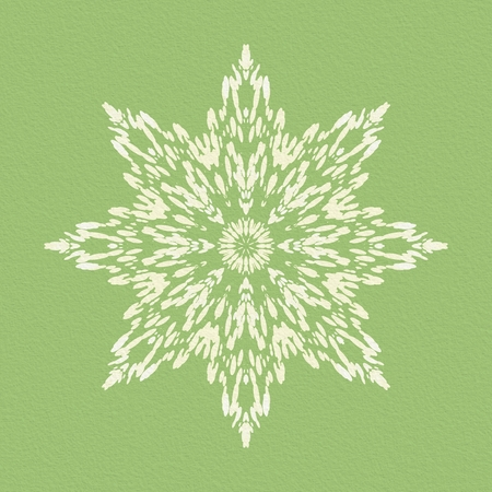 creamy: Digitally generated star shaped flower with white and creamy blots on a green paper texture. Stock Photo