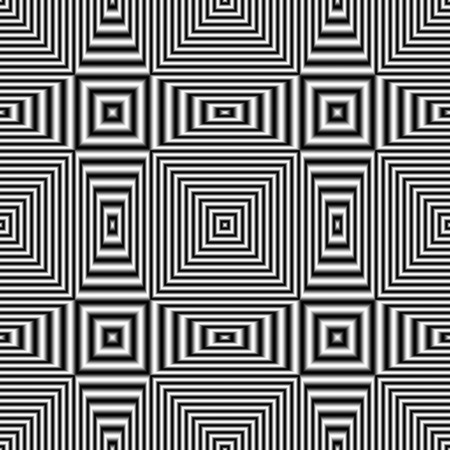 Geometric optical illusion seamless pattern with black and white stripes. Digitally generated abstract optical illusion seamless pattern with effect of shimmering and volume.