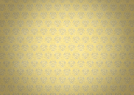 Yellow vintage wallpaper with blue flourish ornament and vignette. Digitally generated vintage stained yellow blue patterned wallpaper abstract background illuminated in the center.