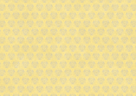 Yellow vintage wallpaper with blue flourish ornament. Digitally generated vintage stained yellow blue patterned wallpaper abstract background.