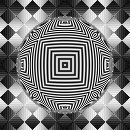 Black and white optical illusion square seamless pattern with 3D sphere. Digitally generated abstract optical illusion seamless pattern with sphere and effect of shimmering. Banque d'images